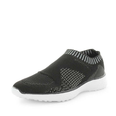 cadell, just bee, comfort shoe, comfortable shoe, non-slip shoes, womens shoes, ladies shoes, knitted womens shoes, ultra light shoes, lightweight womens shoes, feather-lite shoes, featherlite shoes, black shoes, black slip on, knitted slip ons