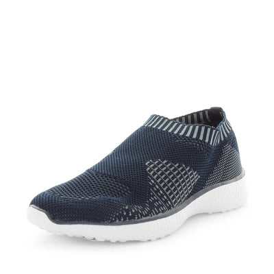 cadell, just bee, comfort shoe, comfortable shoe, non-slip shoes, womens shoes, ladies shoes, knitted womens shoes, ultra light shoes, lightweight womens shoes, feather-lite shoes, featherlite shoes, blue shoes, blue slip on, knitted slip ons