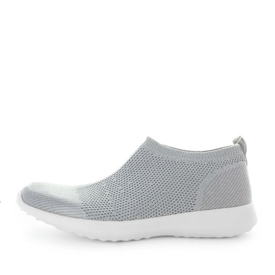 camden, just bee, comfort shoe, womens slip on daily shoe, slip ons, comfortable shoe, womens shoes, ladies shoes, knitted womens shoes, textile shoes, athletic womens shoes, lifestyle shoes, ultra light shoes, lightweight womens shoes, feather-lite shoes, featherlite shoes, silver shoes, light grey slip on, knitted slip ons