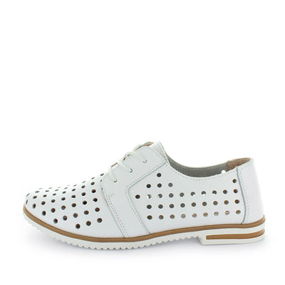 womens shoes, womens loafers, womens leather shoes, ladies shoes, loafer, lace up loafer, pin punch soe, pin punch loafer, leather lace up, loafer flat, polka dot shoe, just bee, cavalry