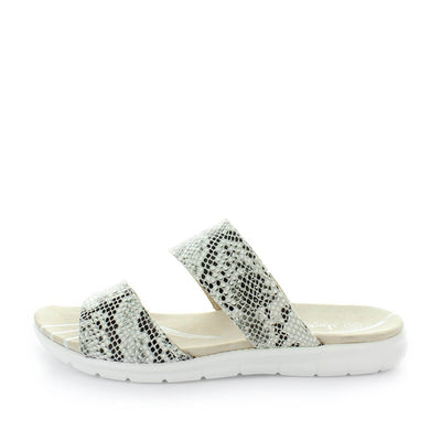 century, just bee, womens shoes, ladies shoes, womens slip on, ladies slip on, womens leather slip on, leather strap slip on, casual leather slip on, comfortable slip on, white snake print slip on, white snake print shoes,