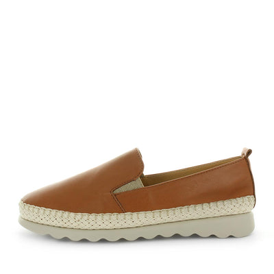 Cheers by the flexx -  super comfortable, high quality leather slip-on shoe with a trim feature, padded insoles and elastic gussets. in tan