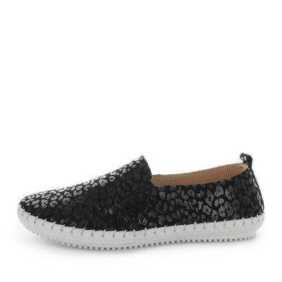 coble, just bee, womens leather shoes, ladies comfort shoes, ladies flexible leather shoes, womens leather comfortable shoes, elastic slip ons, elastic gusset comfort shoes, flexible slip ons, black leopard print slip on womens shoes,