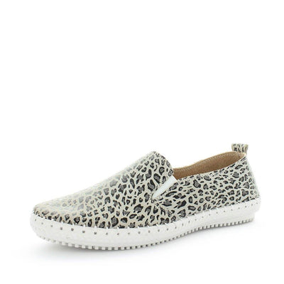 coble, just bee, womens leather shoes, ladies comfort shoes, ladies flexible leather shoes, womens leather comfortable shoes, elastic slip ons, elastic gusset comfort shoes, flexible slip ons, white grey leopard print slip on womens shoes,