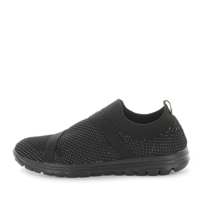 coopa, just bee, comfort shoe, slip on daily shoe, slip ons, comfortable shoe, non-slip shoes, womens shoes, ladies shoes, knitted womens shoes, textile shoes, athletic womens shoes, lifestyle shoes, ultra light shoes, lightweight womens shoes, feather-lite shoes, featherlite shoes, black shoes, black slip on, knitted slip ons