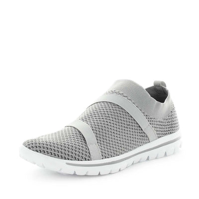 coopa, just bee, comfort shoe, slip on daily shoe, slip ons, comfortable shoe, non-slip shoes, womens shoes, ladies shoes, knitted womens shoes, textile shoes, athletic womens shoes, lifestyle shoes, ultra light shoes, lightweight womens shoes, feather-lite shoes, featherlite shoes, grey shoes, grey slip on, knitted slip ons