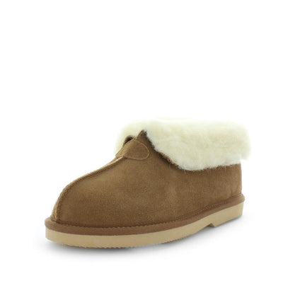 Just Bee UGGs- cosa- womens little boot slipper style, 100% wool, leather shoe with detailed upper and over hanging wool on the trim - womens comfort slippers - womens best slippers- UGGs