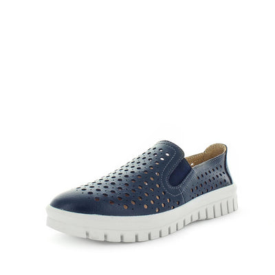 womens comfort shoes, womens shoes, womens leather affordable shoes, Just Bee cotta -navy, leather womens shoe with comfort insoles. the perfect women's shoe for all occasions. laser cut upper detail