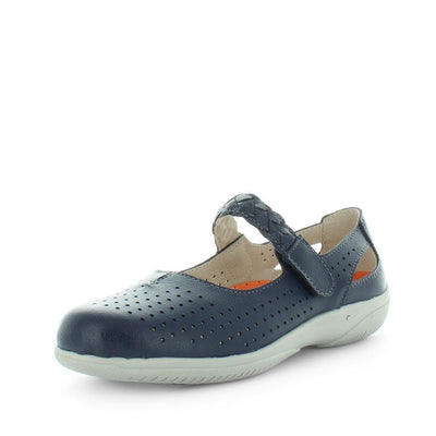 Crimpy by  just bee - ishoes - comfort womens shoes - mary-jane style shoe - womens leather shoe with laser cut uppers, padded sock and adjustable strap in a mary-jane style design that is lightweight, padded, flexible and a wide fit.