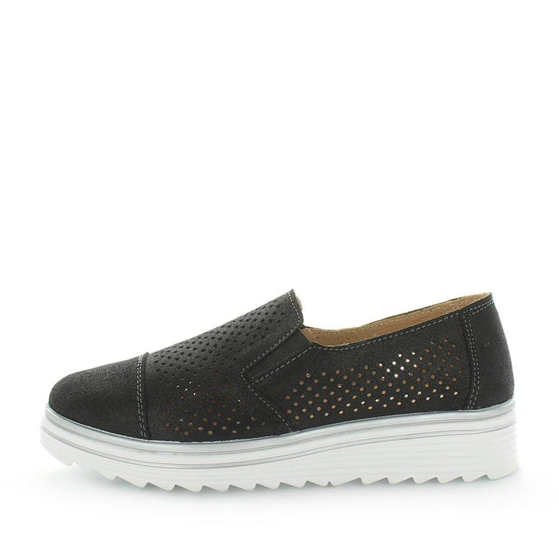 Just Bee comfort shoes - Crista by Just Bee - womens comfort shoes - flat slip-on style shoes with a laser cut upper and slight flatform wedge all wrapped in leather construction