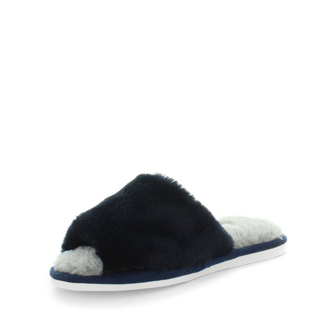 Elbe by Panda - ishoes- - womens slippers - summer slippers - summer womens slippers - slide style slippers with faux fur lining and sock and upperv - very comfortable - in grey and blue