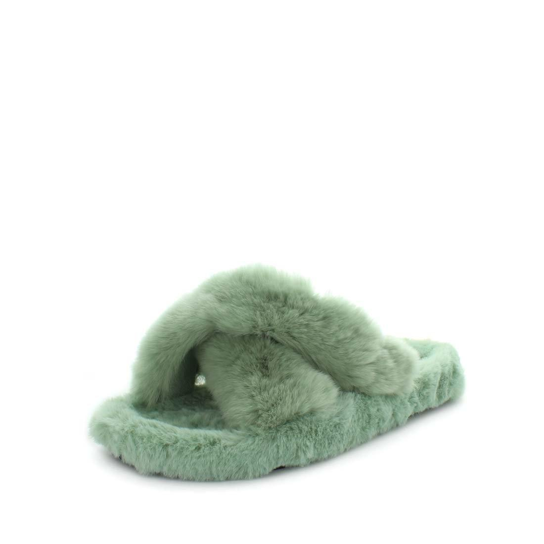 Ezzy by panda slippers - rabbit faux fur lining upper lining and sock - extra soft womens slippers slide style with cross over upper - womens slippers - womens soft slippers - summer slippers