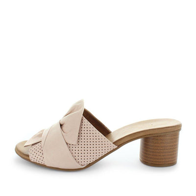 Habigail by zola - womens shoes - womens sandals - soft leather shoes by zola - bow detailed upper and heel like sandal - sandal heel - pinhole upper detail