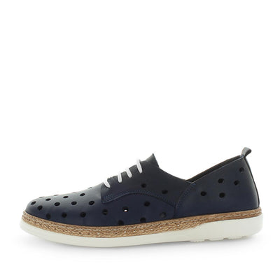 Hatay by Zola European - iShoes - comfort sneaker like shoes with detailed hole punched upper - lace-up closure - leather materials and comfort insole and cushioning - blue