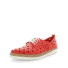 Hatay by Zola European - iShoes - comfort sneaker like shoes with detailed hole punched upper - lace-up closure - leather materials and comfort insole and cushioning - Red