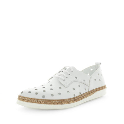 Hatay by Zola European - iShoes - comfort sneaker like shoes with detailed hole punched upper - lace-up closure - leather materials and comfort insole and cushioning - white