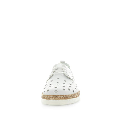 Hatay by Zola European - iShoes - comfort sneaker like shoes with detailed hole punched upper - lace-up closure - leather materials and comfort insole and cushioning - white.