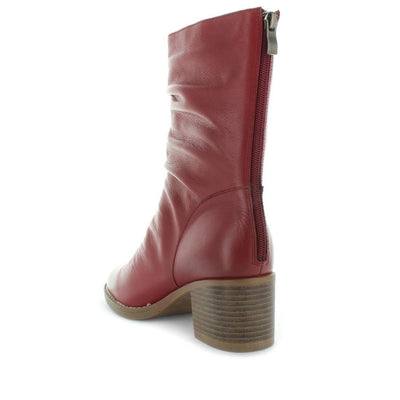 Women's boots - Hazelle by Zola - ishoes - women's comfort boots - women's shoes - women's comfort shoes - leather shoes - women's leather boots - mid leg Soft leather boot with block heel for women  and back zip- mid length boot