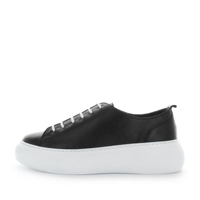 Hestia by zola - platform style leather womens sneakers with extra padded insole and soft leather upper - lace-up closure - think womens platform - womens sneakers  - womens summer shoes black and white
