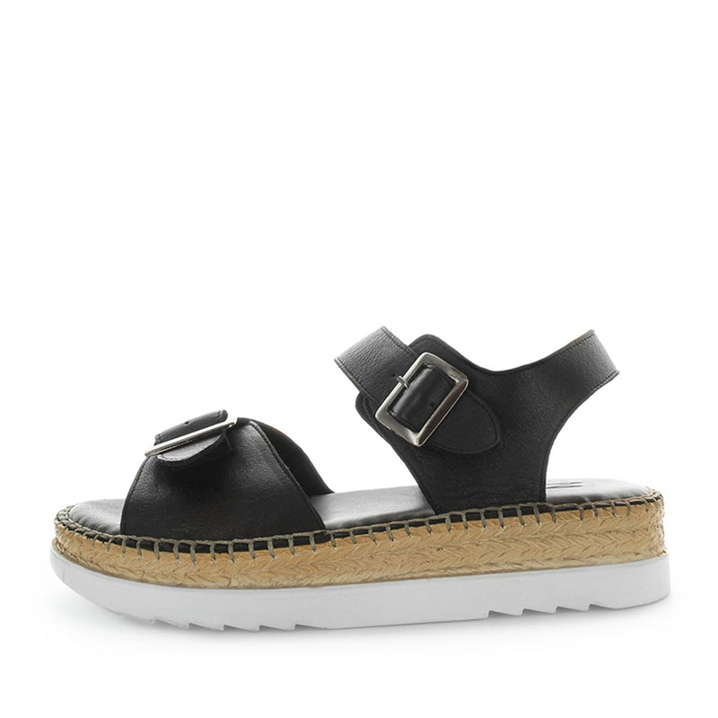 Hisari by zola - soft quality leather sandal - platform style, double buckle and rope trimming for detail - extra comfrtable womens shoes - womens sandals - womens fashion shoes