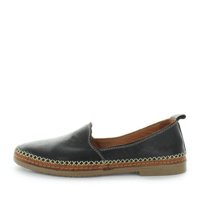 Hulie by zola - women's comfort shoes - women's flats -womens leather shoes - leather flats - leather comfort shoes - Slip on style leather flat with trim stitching