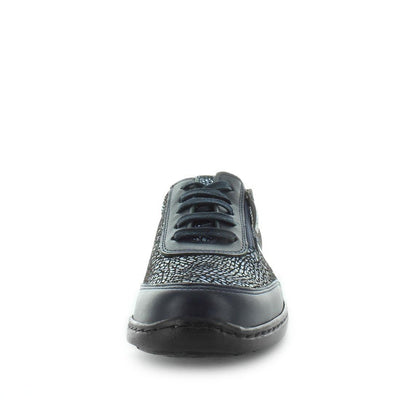 Koral by kiarflex - ishoes - comfort sneakers - women's sneakers - women's flats - comfort flats - metallic patterned leather sneaker with a flexible sole, removeable sock and a lace up style