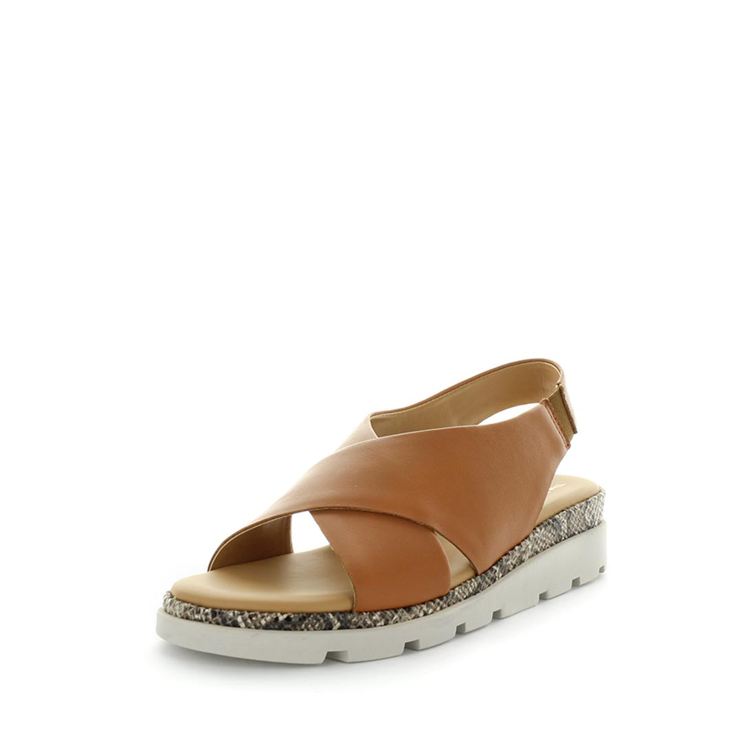Lynn by the flexx - a very comfortable, high quality leather sandal - cross leather upper detail, extra support in the insole for more cushioning, elastic back strap for fit and a trendy and stylish design  -womens shoes - womens sandals - comfort sandals - tan