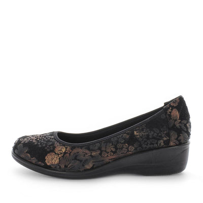 marti, aerocushion, womens lightweight flexible comfort shoe, ladies memory sock flexible slip on shoe, black floral print womens slip on ballet low wedge shoe,
