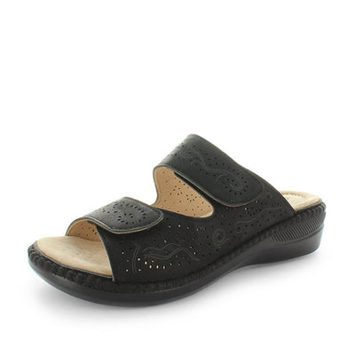 Matilda by areocuhion - slide like wedge with detailed upper and laser cut adjustable straps - comfort footbed with extra cushioning - womens sandals - womens shoes