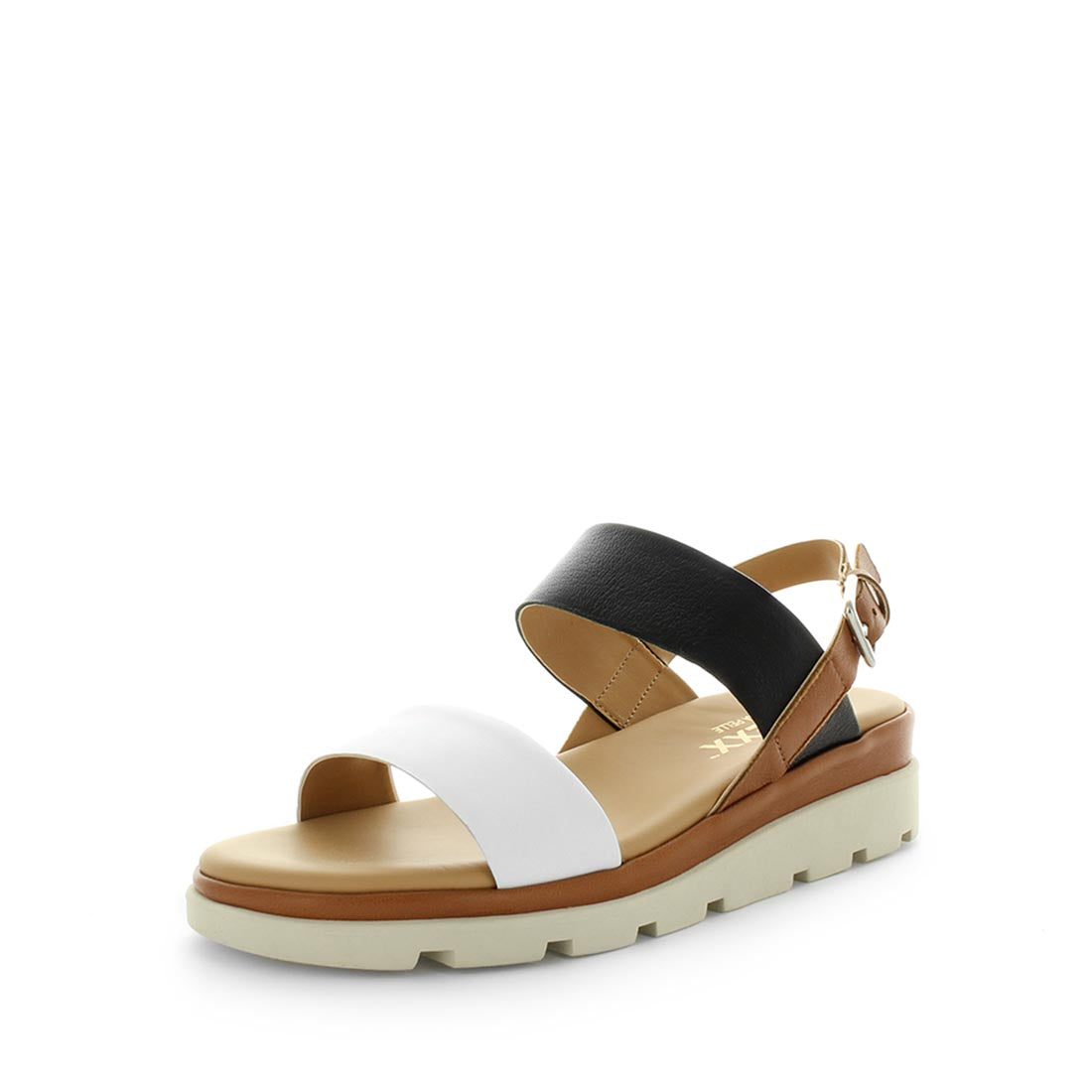 Mod by the flexx - a very comfortable, high quality leather sandal - cross leather upper detail, extra support in the insole for more cushioning, elastic back strap for fit and a trendy and stylish design  -womens shoes - womens sandals - comfort sandals - white, black tan