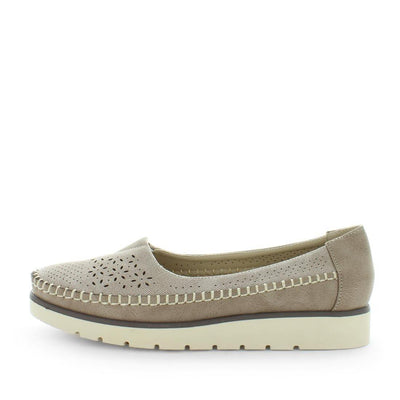 Sambi by wilde - ishoes - comfort footwear - womens comfort flats - womens flats - comfort shoes - womens flats by wilde featuring a laser cut upper with a padded sock , slip on design on a flexible and durable sole