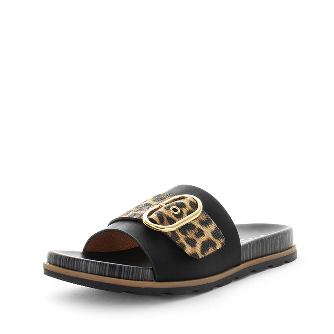 Samoa by wilde - fashion setting slides with leopard print uppers and nice bright buckel - comfort footbed and flexible sandal - black