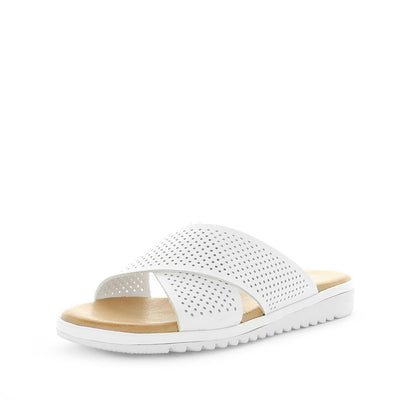 Sayon by wilde - cross over upper pattern laser cut design - comfort footbed and slide style sandal - womens sandal - womens slides - womens summer shoes and sandals.