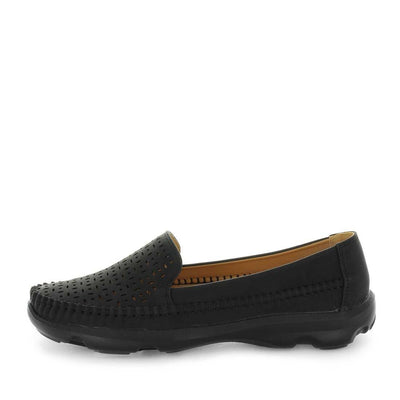 sheree, wilde shoes, womens flats, ladies flats, womens shoes, casual shoes, casual slip ons, comfort shoe, comfortable womens shoes, lightweight flats, black colour flats, black colour slip ons, black flats,