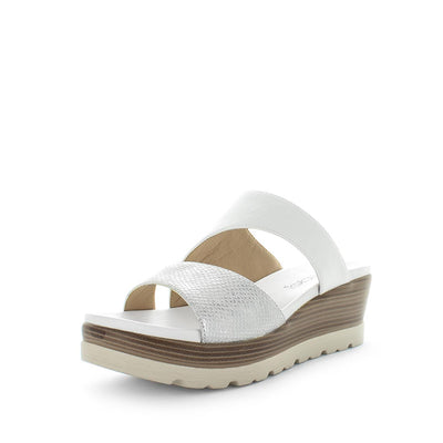 Shima by wilde - iShoes - womens sandals - womens wedges sandals - womens slides made easy with detailing upper, 3 toned sole and wedge lift sandal for comfort trendy looking shoe - white