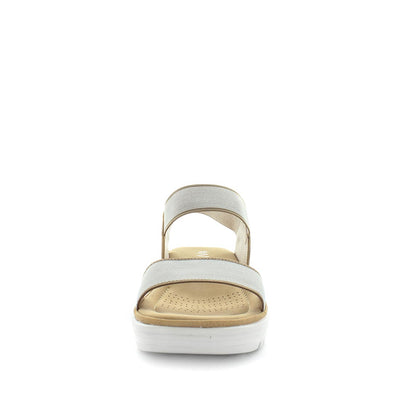 Sippy by wilde - iShoes - womens sandals - womens wedges sandals - womens slides made easy with detailing upper, 3 toned sole and wedge lift sandal for comfort trendy looking shoe - elastic straps for fitting - beige