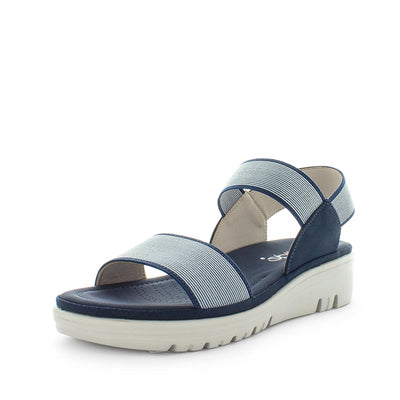 Sippy by wilde - iShoes - womens sandals - womens wedges sandals - womens slides made easy with detailing upper, 3 toned sole and wedge lift sandal for comfort trendy looking shoe - elastic straps for fitting - blue