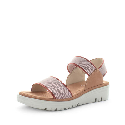 Sippy by wilde - iShoes - womens sandals - womens wedges sandals - womens slides made easy with detailing upper, 3 toned sole and wedge lift sandal for comfort trendy looking shoe - elastic straps for fitting - coral