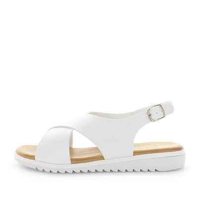Sole by wilde - ishoes - womens sandals - womens shoes - sadnals by wilde - slip-on style sandals with small back strap - padded foorbed and synthetic upper - white