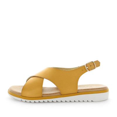 Sole by wilde - ishoes - womens sandals - womens shoes - sadnals by wilde - slip-on style sandals with small back strap - padded foorbed and synthetic upper - yellow