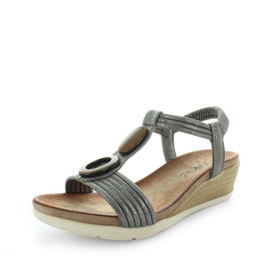 womens wedges, ladies wedges, womens shoes, womens sandals, synthetic sandals, casual dress sandals, casual dress wedges, light weight wedge, elastic wedges, elastic sandals, slip on sandal, slip on wedges, wilde, sundial