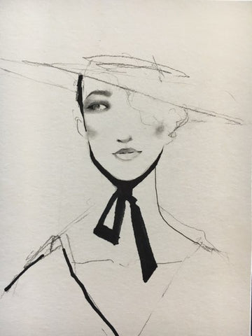 Illustration of a woman in a hat and neck tie by Sean Cai.