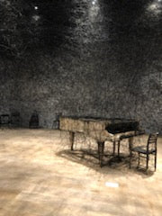 Art work of a piano by Chiharu at the Mori Art museum in Japan