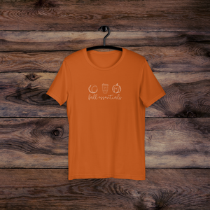 Autumn orange colored t-shirt with fall essentials (baseball, coffee, and pumpkins)