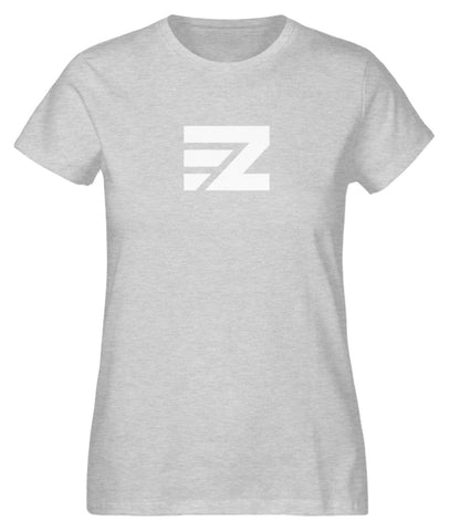 EZ Damen T-Shirt aus Bio-Baumwolle in heather grey mit Logo-Print in weiß