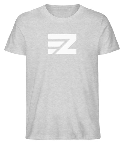 EZ Herren T-Shirt aus Bio-Baumwolle in heather grey mit Logo-Print in weiß