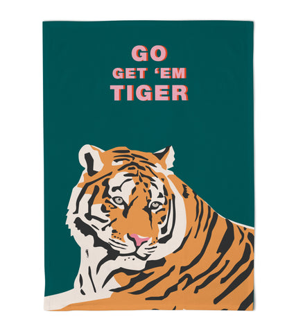 Emily Brooks Tea Towel Tiger Teal