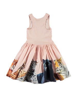 Girl's Cassandra Ribbed Sleeveless Dress with Big Cats Skirt