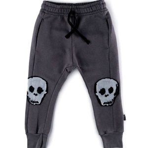French terry water skull patch baggy pants