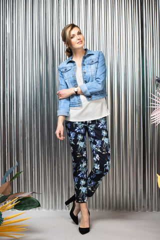 Jeans blazer and floral pants